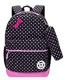 Dots Print Girls Bookbags for Kids Elementary School Backpacks for Girls School Bags (Medium, Black)