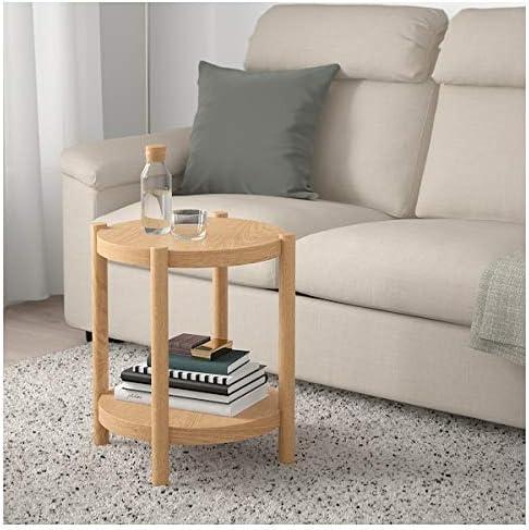 Listerby Ikea Beistelltisch Aus Weiss Lasierter Eiche 50cm Amazon De Kuche Haushalt