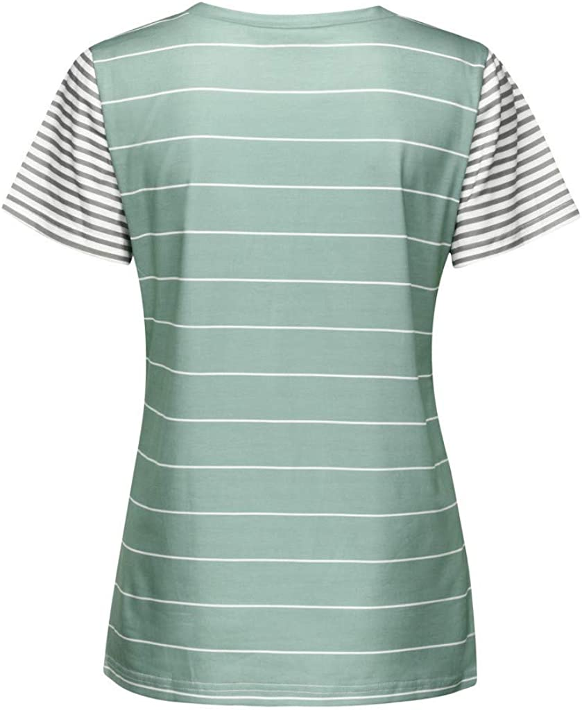 LINYIOU77 Womens T-Shirt Summer Striped Short Sleeve Blouse Casual T-Shirt Tops with Pocket Loose Comfortable Shirt