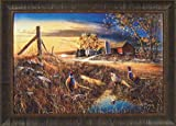 Roadside by Jim Hansel 24x33 Pheasants Ringnecks Roosters Birds Farm Barn Framed Art Print Picture