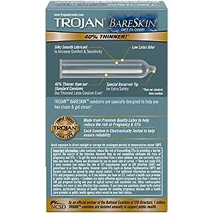 Trojan Sensitivity Bareskin Lubricated Latex Condoms, 10 Count