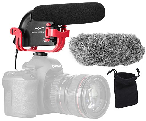 Movo VXR4000R-PRO Directional Shotgun Condenser Video Microphone with Shockmount, Low Cut Filter, Audio Gain + Attenuation, Foam + Deadcat Windscreens and Case