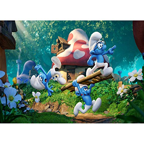 Happy Birthday Backdrops for Photography 7x5 Blue Elf Red Mushroom Houses The Smurfs Background for Photo Studio Customized ()
