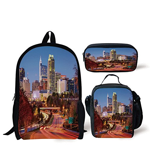 School Lunch Pen,United States,Raleigh North Carolina USA Express Way Business District Building Skyscrapers Decorative,Multicolor,Bags ()