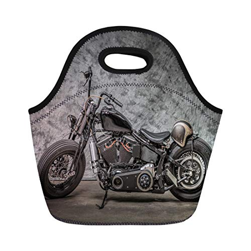 Semtomn Neoprene Lunch Tote Bag Harley Motorcycle Cool Davidson Vintage Bike Classic Chopper Motorbike Reusable Cooler Bags Insulated Thermal Picnic Handbag for Travel,School,Outdoors,Work