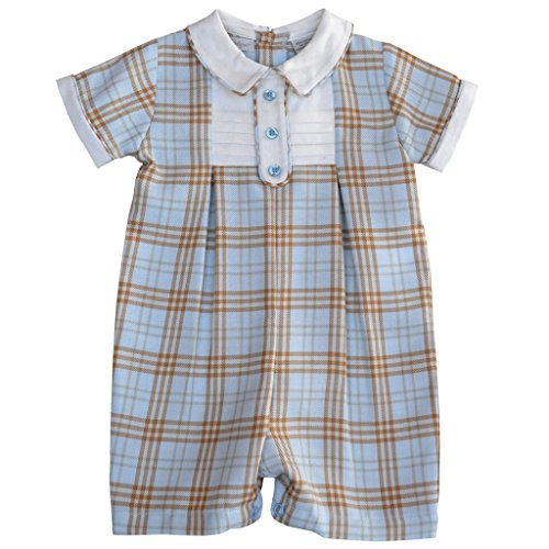 Tan Boys Shirt (Baby Boy's Dressy Plaid Shortall With Tuxedo Bib Insert - Blue/Tan, 6M)