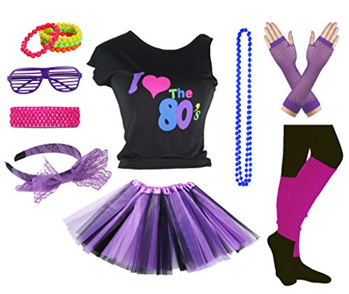 Girls I Love The 80's Disco T-Shirt for 1980s Theme Party Outfit (Black&Purple, 8-10 Years) ()