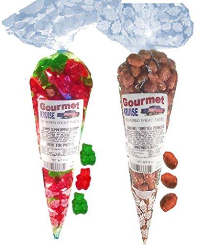 Green Apple Wild Cherry Gummy Gummi Bears And Caramel Toasted Peanuts (NET WT 19 OZ) Gourmet Kruise Signature Gift Bags -