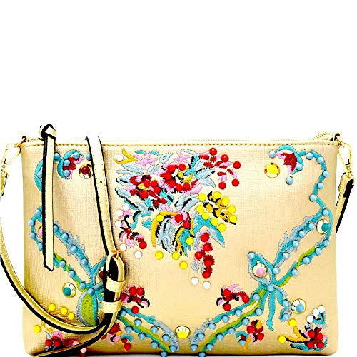 Oversized Colorful Studs Embellished Boho Embroidery Detail Textured Vegan Leather Clutch with Shoulder Strap