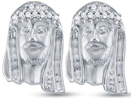 925 Sterling Silver Jesus Face Shape Studs Channel Set Diamond Earrings (1/10 - Face Diamond Shape