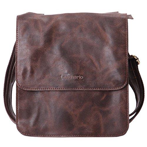 Leathario lujoso superior Bolsos Bandolera Cuero Piel Cartera Bolsa de mensajero Vintage color marrón