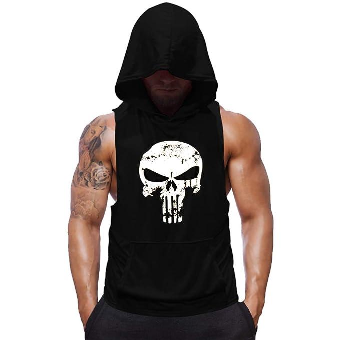 0b6aa3c53db21d Amazon.com  SZKANI Mens Skull Print Sleeveless Fitness Vest Bodybuilding  Stringers Workout Tank Tops  Clothing