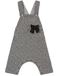 21ab808e1f52 Baby Girls  Houndstooth Double Knit Overalls with Pocket and Bow