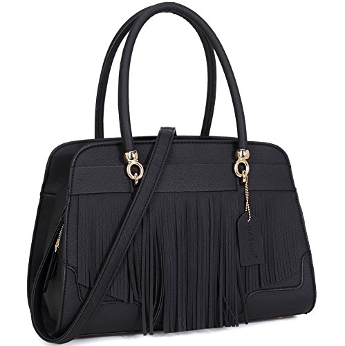 Top Bag Bag Structured Satchel Fashion Fringed Handbag Black Shoulder Womens Handle qZP474