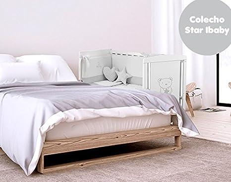 Cuna Colecho Star Ibaby. Multiples posiciones de Somier para adaptarla a cualquier cama. Lateral abatible. + Colchón Viscoelastica optimo para el ...