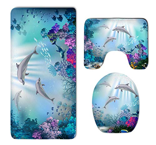 Beach Surfer Dolphin Ocean Underwater Fish Coral Reef 3 Piece Bathroom Mat Set Pedestal Mat+Lid Toilet Cover+Bath Mat Doormat Non-Slip Carpet Rug