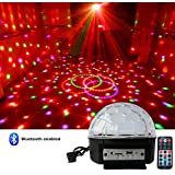 Intsun Mini Bluetooth Voice activated RGB LED Crystal Magic Ball Effect Light, Disco Stage Lighting, Bluetooth crystal ball lamp, with Remote Control+Bluetooth Control (Bluetooth)