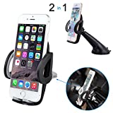 Deler Car Holder, 2 in 1 Universal Phone Mount-Padded Adjustable Grips for Safety-Car Mount Air Vent Windshield Dashboard Mobile Phone Holder for iPhone, Android Black