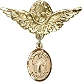 Gold Filled Baby Badge with St. Justin Charm and Angel w/Wings Badge Pin 1 1/8 X 1 1/8 inches