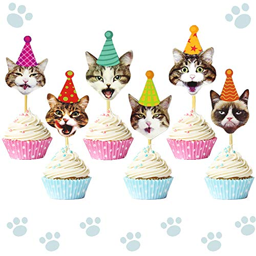 LaVenty Set of 24 Glittery Kitten Cat Meow Cupcake Toppers Cat Cupcake Topper Meow Cupcake Toppers Girl's Birthday Kitten theme Party Decorations Kids' Birthday Party Decors