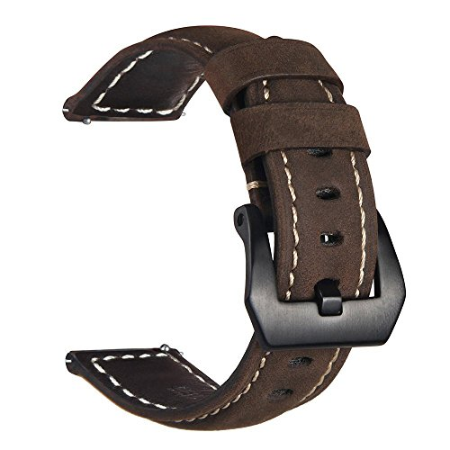 Galaxy Watch 42mm Band/Gear Sport Band, VIGOSS 20mm Premium Vintage Crazy Horse Genuine Leather Strap Replacement Bracelet for Samsung Gear Sport Smartwatch Fitness SM-R600 Ticwatch E(Leather Coffee)
