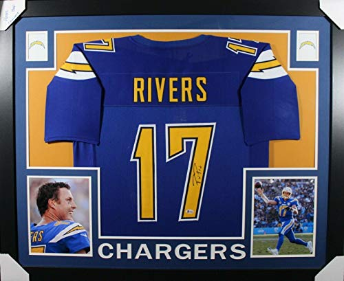 Philip Rivers Autographed Jersey - FRAMED COLOR RUSH w BECKETT COA - Beckett Authentication - Autographed NFL ()