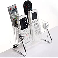 CHUANGLI 360 Degree Revolving Transparent Plastic Desktop TV Remote Control Storage Organizer