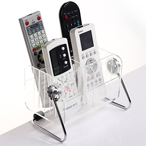 CHUANGLI 360 Degree Revolving Transparent Plastic Desktop TV Remote Control Storage Organizer by CHUANGLI
