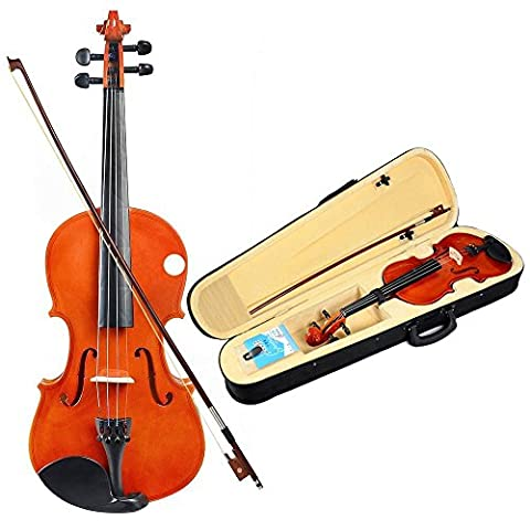 Full Size 4/4 Natural Acoustic Violin Fiddle with Case+Bow+Rosin+Bridge Etude Student Series Violin Back to (Burke Wireless Mouse)