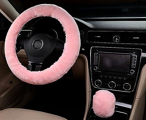 DSstyle Wool Soft Steering Wheel Cover Plush Wool Soft Fluffy Steering Cover Guard Pink