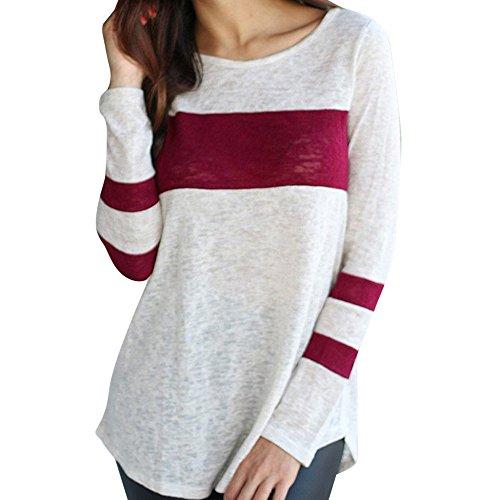 Women Tops, Gillberry Womens CottonLong Sleeve Round Neck Splice Shirt Blouse Tops T Shirts (Wine Red, S)