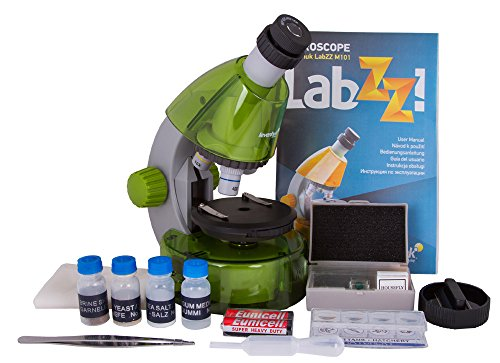 Levenhuk LabZZ M101 Lime Microscope for Kids with Experiment Kit – Choose Your Favourite Color!