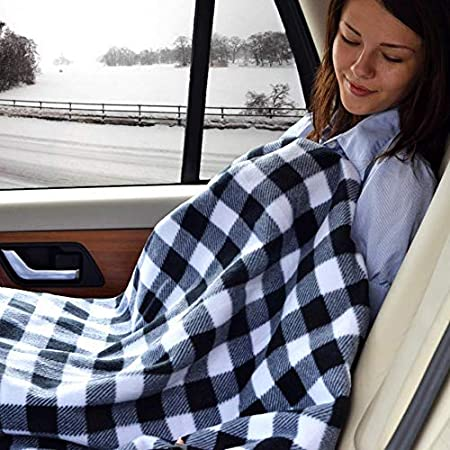12V Lattice Fleece Car Supplies Winter Hot Car Constant Temperature Heating Blanket for Travel Camping Picnic Heater 145x100cm Missbee Electric Heating Blanket