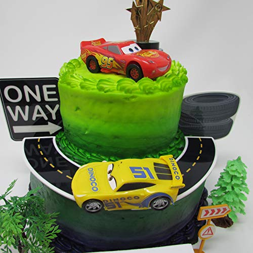 Cars 3 Birthday Cake Topper Set Featuring Lightning McQueen And Cruz Ramirez Figures With Decorative Themed