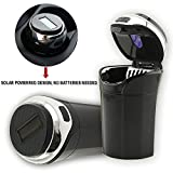 Automotive : Car Ashtray, Solar Powered Lighting Detachable Stainless Car Ashtray, Auto Cigarette Ashtray with Blue LED Light, Car Ashtray with Lid for Most Cup Holder (Solar+Sliver)