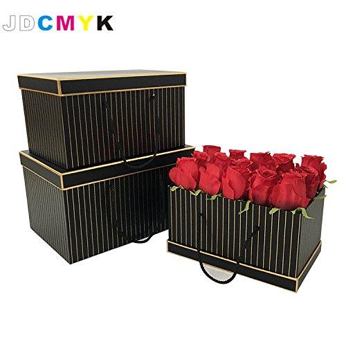 3pcs/Set very bis size rectangle shape florist packing flowers gift box ,gold line wedding decoration party favors coffret gift boxes (Black Coffret)