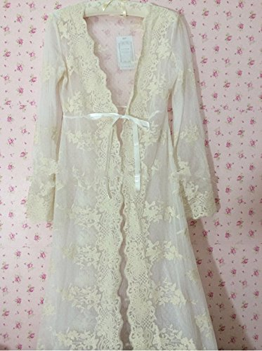 Vintage Sleeping Night Gown Cardigan Floral Lace Bridal Robe Long Sleeves Pajamas Sunnywell tb15