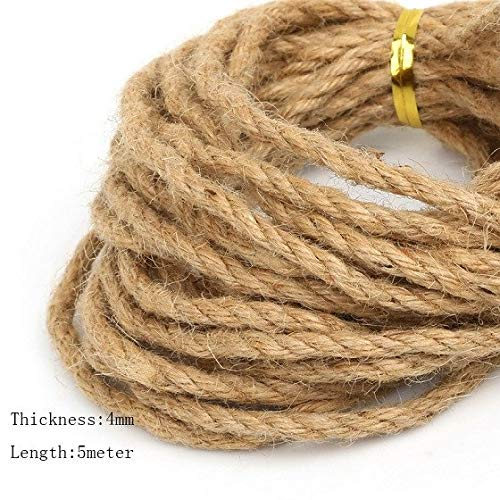 Fashion DIY 5m/lot Natural Hemp Jute Cord Rope String 2mm 4mm 6mm for DIY Fashion Jewelry Gift Packing Hang Tag String ()