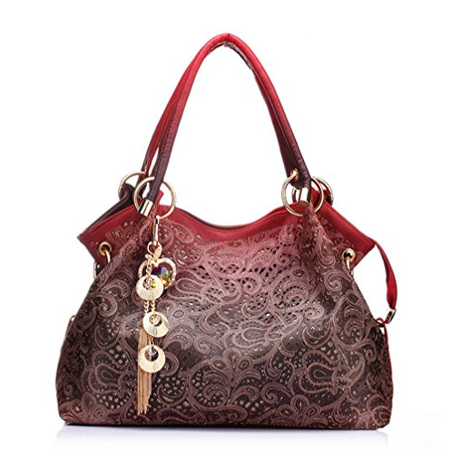 BBPPDD Handbag Womens Shoulder Bag Casual Signature Printing Pu Leather Tote Top Handle (Red)