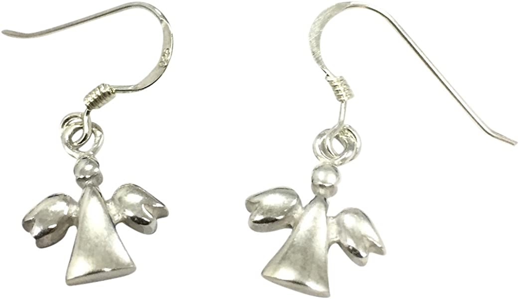 2139cc13f Sterling Silver Guardian Angel Earrings. Back. Double-tap to zoom