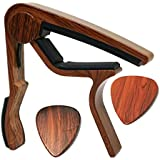 MOREYES Guitar Capo for Acoustic Guitar,Ukelele, Electric Guitar,Bass with Wood Color Guitar Picks(GC-4 Rosewood)