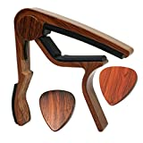 MOREYES Guitar Capo for Acoustic Guitar ,Ukelele, Electric Guitar,Bass with Wood Color Guitar Picks(GC-4 Rosewood)