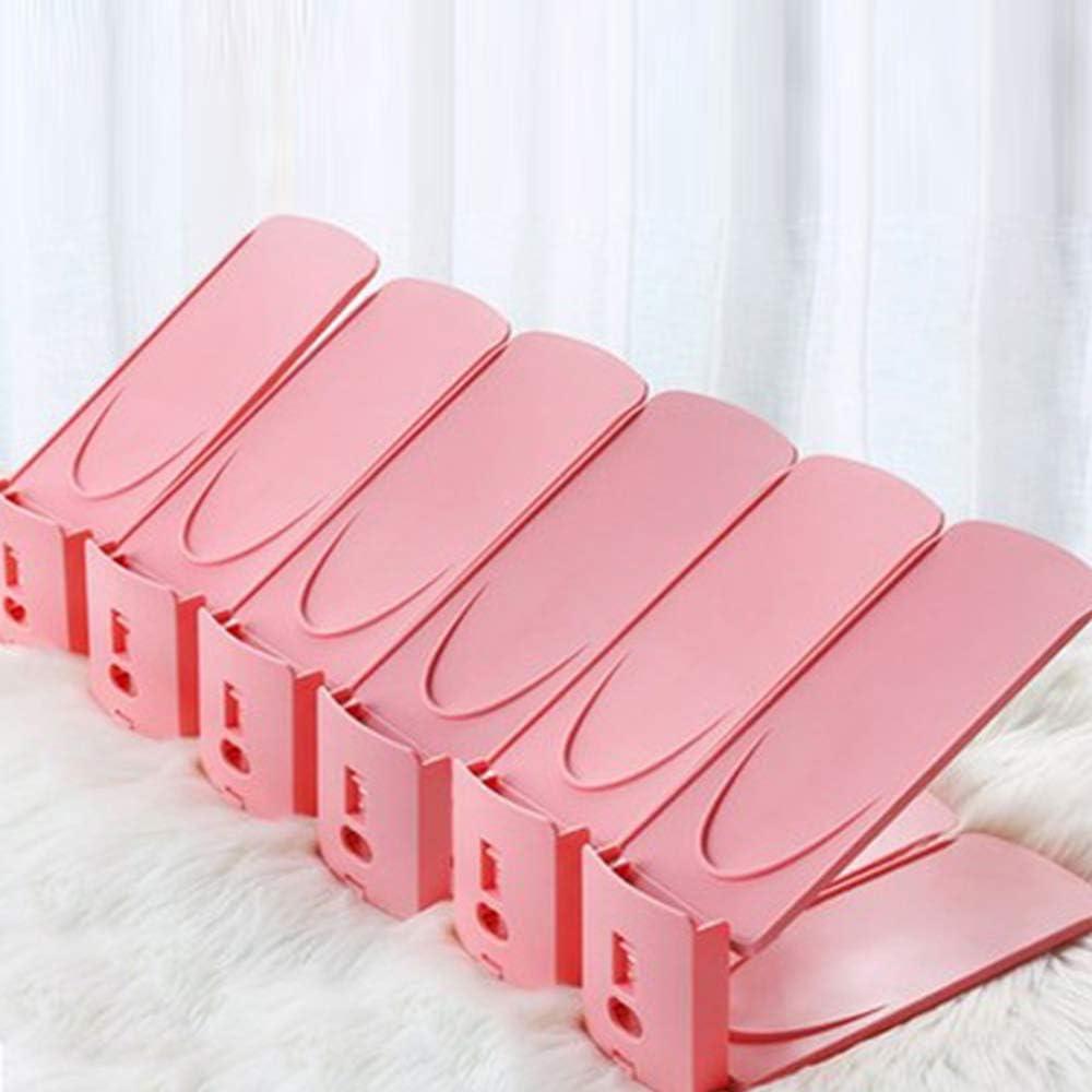 Wopeite Organizador Zapatos,Soporte Ajustable de Zapatos,Ahorrar Espacio Soporte de Calzado, Ayudante de Almacenamiento de Zapatos,8pcs,Pink