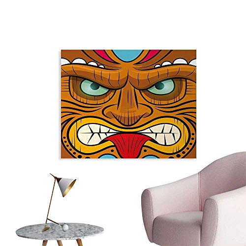 (Tudouhoho Tiki Bar The Office Poster Cartoon Style Angry Looking Tiki Warrior Mask Colorful Icon Totem Culture Print Wallpaper Multicolor W48)