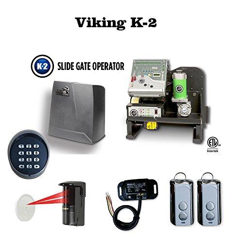 Viking K-2 Safety Photocell, Transmitter & Receiver, Wireless keypad, Residential Slide Sliding Gate Operator