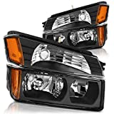 For 2002 2003 2004 2005 2006 Chevy Chevrolet Avalanche Headlight Assembly Headlamp with Signal Lights, Black Housing Amber Reflector(BODY CLADDING)