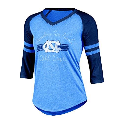 Ncaa North Carolina Tar Heels Womens Poly  Raglan Tee  Medium  Blue Heather