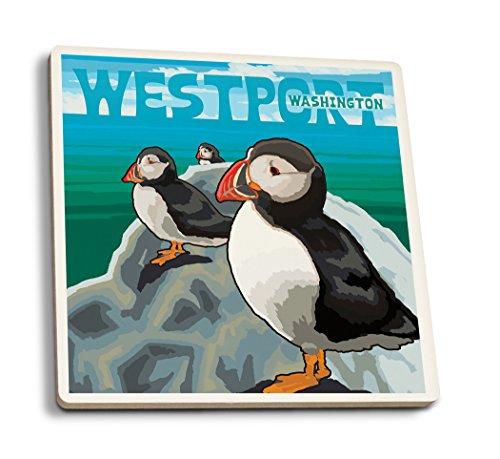Westport, WA. - Puffins (Set of 4 Ceramic Coasters - Cork-backed, (Westport Coffee Table)