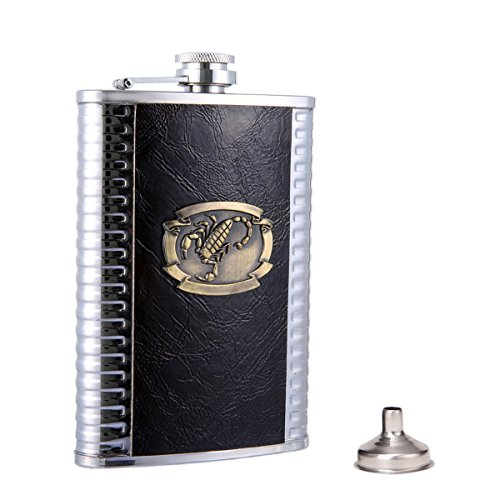 Taneaxon 9 oz Scorpion Pattern Pocket Hip Flask with Funnel - Stainless Steel with Leather Wrapped Cover