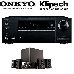 Onkyo TX-NR656 7.2 Channel Network A/V Receiver + Klipsch HD 300 Compact 5.1 High Definition Theater System (Set of Six, Black) Bundle